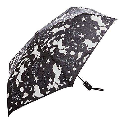 CODELLO Snoopy Peanuts Regenschirm TASCHENSCHIRM Umbrella mit ALLOVER-PRINT schwarz 1301 (Schwarz_EINHORN)