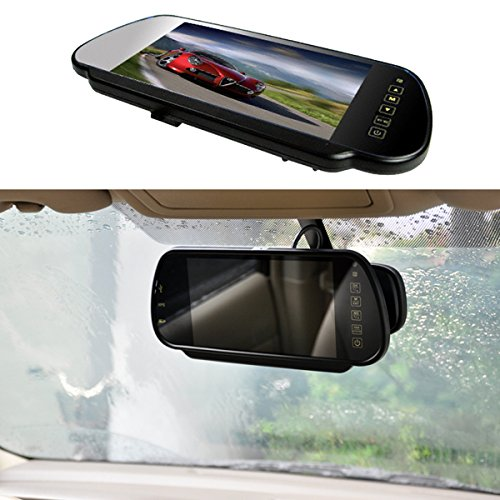 E-KYLIN 7' Car Auto Monitor in-Mirror LCD Screen HD 800x480, 12V / 24V Universal for Truck Mirror Mount Clip 2 RCA Input for Backup Camera/Rear View/DVD/Media Player