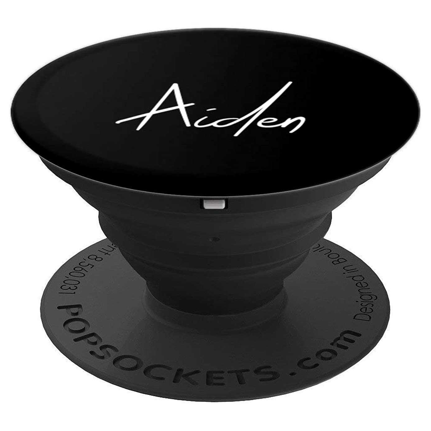 Aiden Name White on Black - Aiden - PopSockets Grip and Stand for Phones and Tablets