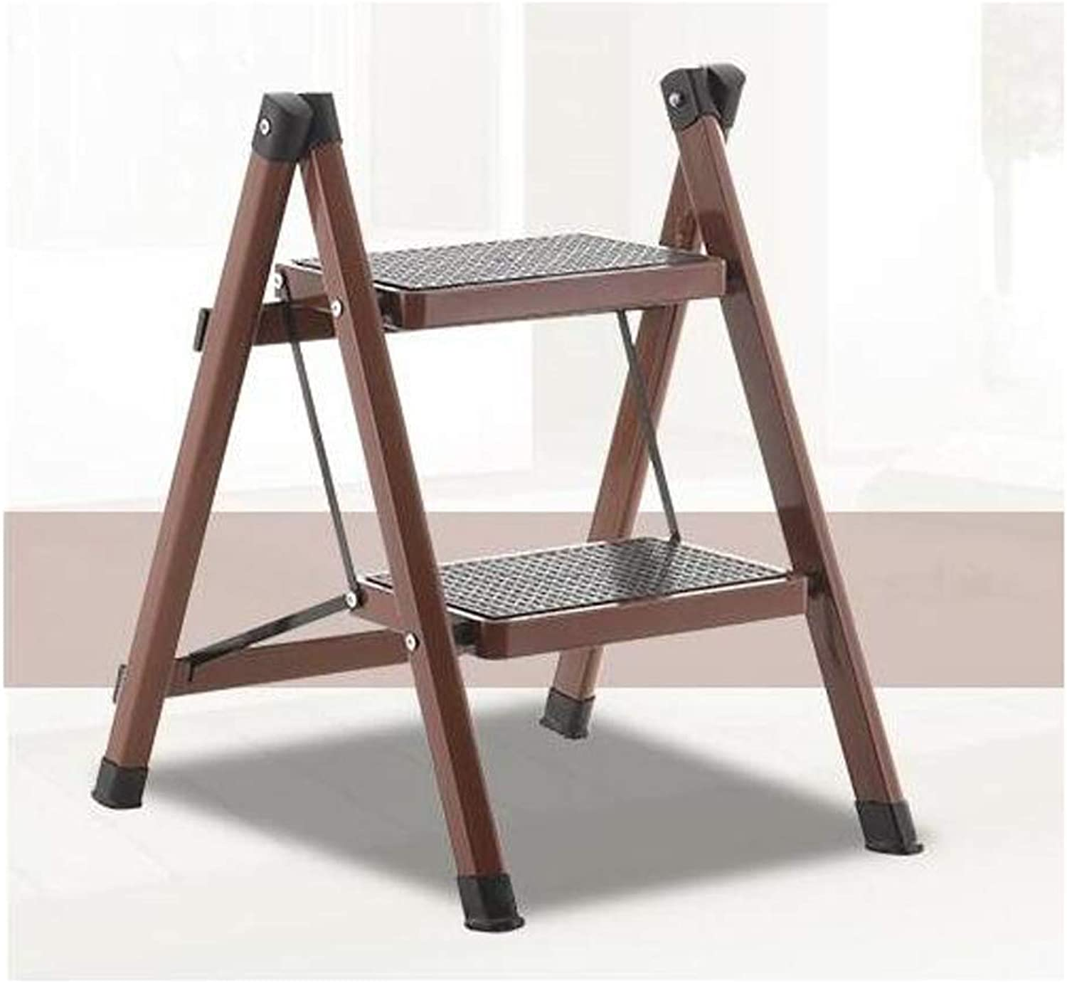 HBJP Ladder Stool Kitchen Ladder Home Folding Ladder Stool Dormitory Upper Stairs Multi-Function Small Hanging Ladder Two Steps Horse Stool Two-Step Ladder Staircase Stool (color   Brown)