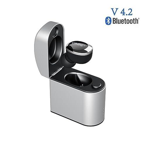 [V4.2] Mini Écouteur Bluetooth Intra-Auriculaire Oreillette Bluetoooth Sans Fil Invisible Bluetooth Stéréo de Sport avec Mic IPX4 Anti-Sueur Recharge Magnétique (Noir)
