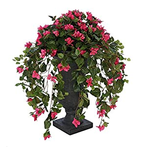 House of Silk Flowers Faux Pink Bougainvillea in Urn Planter