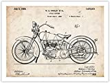 Vintage Classic HD Motorcycle Poster 1928 Patent Art Print 18x24'