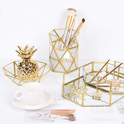 XKMY Metal Geometric Makeup Brush Holder Retro Flower Vase Office Pen Glass Storage Box Cosmetic storage box