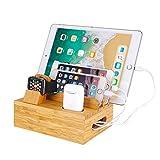 Organizador de escritorio de madera de bambú para estación de carga, soporte para cargador compatible con iPhone 11 Pro Max XS XR X iPad 4 Mini Air Pro Apple Watch 2 3 4 / iWatch AirPods Smartphones