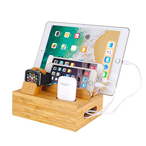 Bamboo Wood Desktop Organizer Charging Docking Station Charger Holder Cradle Stand Compatible iPhone 11 Pro Max XS XR X 8 7 Plus iPad 3 4 Mini Apple Watch 2 3 4 / iWatch 38 & 42mm AirPods Smartphones