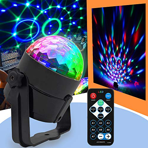 Disco Ball Light Party Light Stage Strobe Light RGB DJ Lights Sound Activated with Remote Control LED Projection Effect Disco Lights for Parties Wedding Club Bar Karaoke Xmas KTV Stage