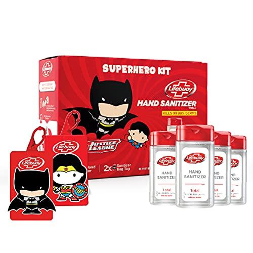 Lifebuoy Hand Sanitizer Super Hero Kit | Anti bacterial Alcohol based Sanitizer | 4 units x 50ml + 2 bag tags (Batman & Wonder...