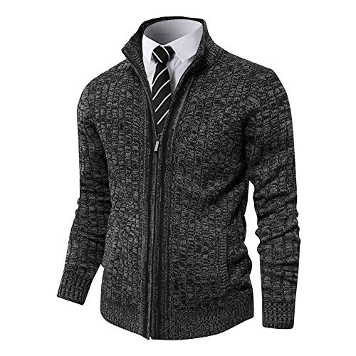 Pioneer Camp Men's Full Zip Up Sweaters Cardigan Stand Collar Slim Fit Casual Knitted Sweater with 2 Front Pockets (Dark Grey, XL)