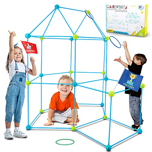 Jumpit Kids Fort Building Kits 120 Pieces Construction STEM Toys for 5 6 7 8 9 10 Years Old Boys and Girls Building Castles Tunnels Gift DIY Educational Learning Toy for Indoor & Outdoor