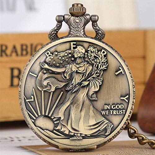 Water cup Vintage Pocket Watch Pocket Watch Vintage Bronze Coin Display Quartz Pocket Watch Necklace Pendant Souvenir Gifts For Men Women with 30/80 Cm Chain