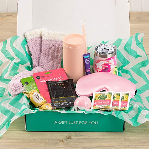 New Moms Gift Set (Postpartum Self Care Kit) 14 Variety Items: Lotions, Snacks, Self Care & More for Mothers Wife Fiancé Ladies Females - The Care Crate Co.