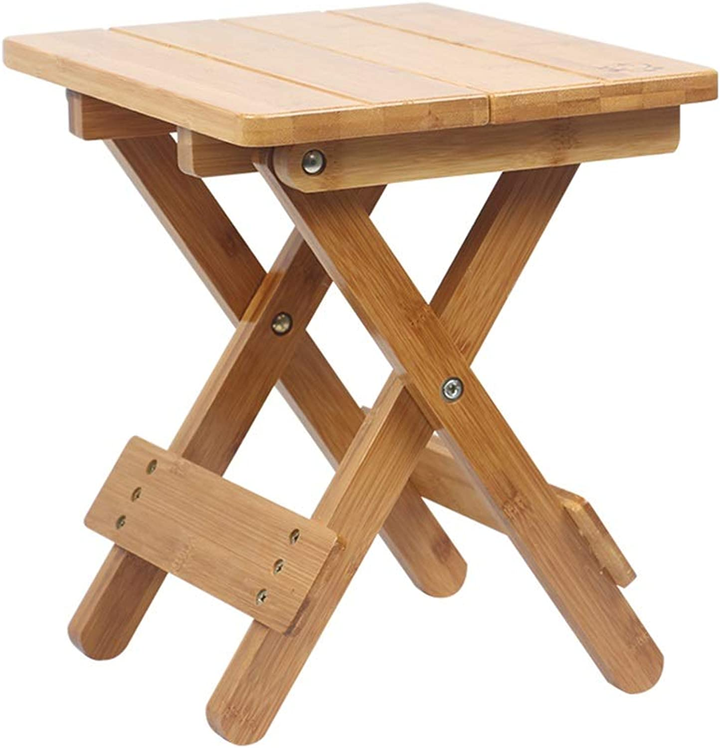 Portable Folding Camping Stool Heavy Duty Fold-in-Half Solid Wood Outdoor Fishing Chair Bamboo Household Small Square Stool