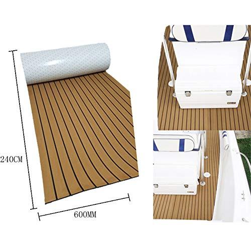 FADDARE Boot Teak Decking, 240 x 45 cm Eva Schaum Anti-Rutsch-Boot Decking Blatt DIY Selbstklebende Marine Yacht RV Bodenbelag Flexibel Dehnbar