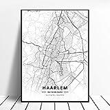 zhuifengshaonian Póster Almere Alkmaar Arnhem Amersfoort Haarlem Utrecht Zwolle Países Bajos Mapa (ZW-1837) Sin Marco Poster 40x60cm
