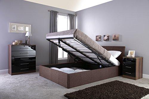 Right Deals UK Ascot tessuto di stoccaggio Ottoman Beds, 3 colori, Tessuto, marrone, matrimoniale 140 cm