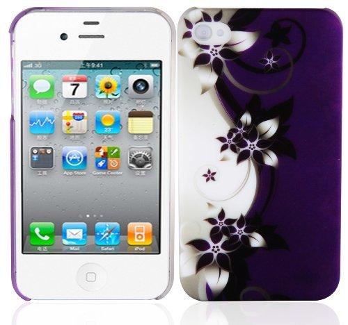 Cadorabo Hülle für Apple iPhone 4 / iPhone 4S - Hülle im Design LILA VEILCHEN – Hardcase Handyhülle mit Aufdruck - Schutzhülle Bumper Back Case Cover