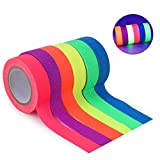 Tape Neon [6 Rotoli] Nastro Fluorescente Neon Tape, UV Blacklight, Glow in The Dark Gaffer Tape, Adesivo, 6 Colori,15MM*5M Per Rotolo, Per Forniture Per Feste Black Light