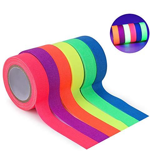 Neon Tape [6 Rollos] Cinta Adhesiva,UV Fluorescente Luz Negra, Neón Gaffer Tape, Glow In The Dark, Blacklight, 6 Colores, 15MM*5M Por Rollo, Para Suministros De Fiesta De Luz Negra