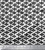 Soimoi Weiß Baumwolljersey Stoff Pluszeichen geometrisch