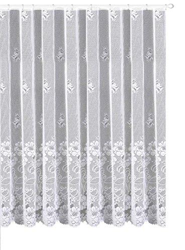 Gardine Vorhang Store aus edlem Jacquard mit großer Blumen Bordüre - Kurzstore HxB 135 x 300 cm für Fensterbreite 100-130 cm - geprüfte hochwertige Qualität …auspacken, aufhängen, fertig! Typ318