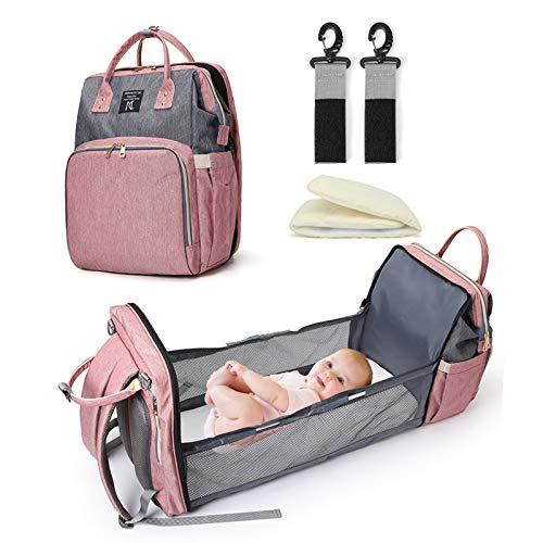 Mooedcoe Cabrio Baby Wickeltasche, Tragbare Wickeltasche, Wasserdichter Faltbarer Babybett Rucksack, Multifunktionale Baby Reisetasche mit Schwammkissen