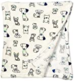 "Bon Bebe Unisex Super Soft and Cozy 30""x 36"" Plush Baby Blanket, Dogs, One Size"
