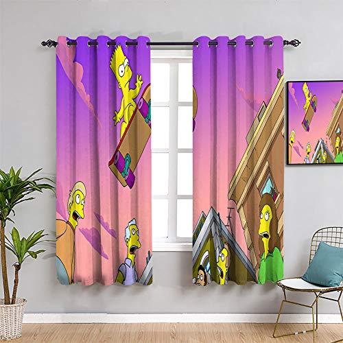 Elliot Dorothy Bart Simpsons - Juego de cortinas opacas con aislamiento térmico para dormitorio infantil (42 x 45 pulgadas, tela de poliéster