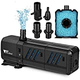 amzdeal Water Pump Aquarium 400GPH (1500L/H,15W) Submersible Water Pump with Two Filters Ultra Quiet Water Pump for Aquarium, Fish Tank(200L,55gallon, Pond, Fountain,Hydroponics