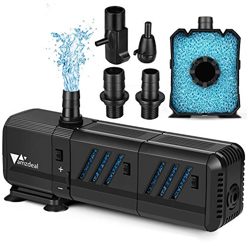 amzdeal Water Pump Aquarium 400GPH (1500L/H, 15W) Submersible Water Pump with Two Filters Ultra Quiet Water Pump for Aquarium, Fish Tank (200L,>55gallon), Pond, Fountain, Hydroponics
