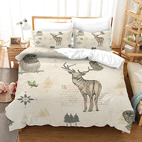 3D Style Duvet Cover Sets Animal Elk Robin With Zipper Closure For Bedding Decro, Ultra Soft Microfiber,Double,(1 Duvet Cover + 2 Pillowcases) 220X230Cm/86.5X90.5 Inches