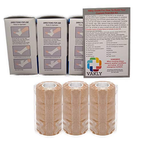 4' Unna Boot Bandage with Zinc Oxide + Self Adhesive Wrap (3 of Each) + Vakly 1st Aid Kit Guide …