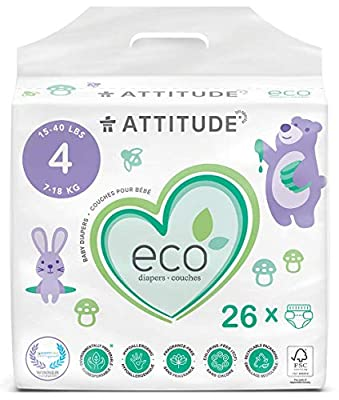 ATTITUDE Eco-Friendly Diapers, Non-Toxic, Hypoallergenic, Safe for Sensitive Skin, Chlorine-Free, Leak-Free & Biodegradable Baby Diapers, Plain White (Unprinted), Size 4 (15-40 lbs), 26 Count