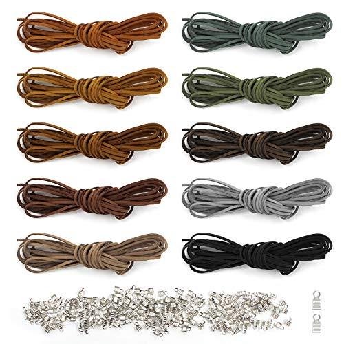 Yangfei 10Pcs 5M*3mm Cuerda de Cuero para Pulseras Cordón para Colgante, Cordón de Cuero Plano Cuerda de Cuero Gamuza Cordon Cuero para Colgante Collares y 200 Extremos de Cordón Bisuteria (10 color)