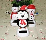 URTop 3Pcs Plastic Solar Power Dancing Snowman & Penguin Figure Doll For Car Ornament Home Decoration Novelty Solar Kids Christmas Toy
