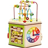 Lihgfw Big Hexahedron rundes Korn-Schatz-Kasten-Jungen und Mädchen Baby Kinder-Bildungs-Wulstige Holzspielzeug 8 Funktionen