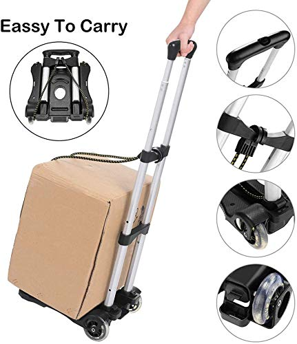 Coocheer Aluminum Folding Hand Trucks Portable Luggage Cart Lightweight Travel Hand Truck/Heavy Duty Hand Trucks (80LB)