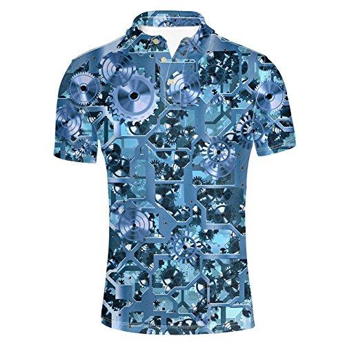 HUGS IDEA Mens Polos Shirts Button Dowm Collared T-Shirt Mechanical Gears Pattern Short Sleeve