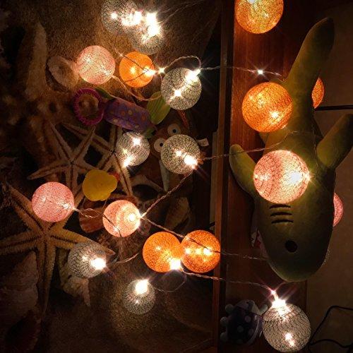 Guirlande Lumineuse, Chickwin Coton LED Chaîne de Lumière Boules Cosy Lumière Couleur Décoration Pour La Saint Valentin Noël Fêtes Mariage d'autres Fêtes Ou Occasions Etc (rose orange gris, 3.3M / 20 lights)