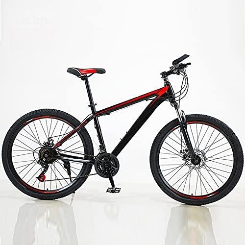 Bicicleta De Montaña, 26 Pulgadas, Acero con Alto Contenido De Carbono Rueda De Radios Cortavientos Freno De Disco Doble MTB Estudiante Adulto Al Aire Libre Deporte Ciclismo,Rojo,27 Speed