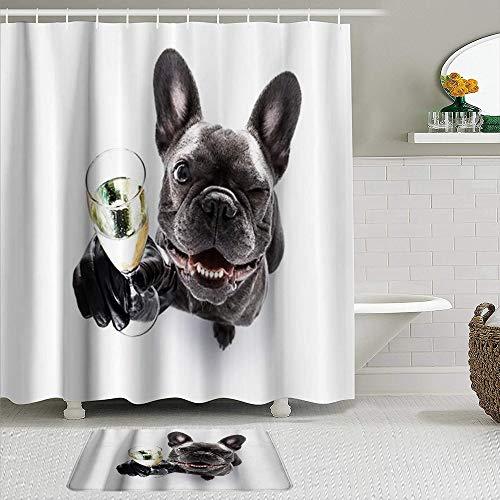 AYISTELU Duschvorhang Sets mit rutschfesten Teppichen,Lustiger niedlicher Mops rustikaler H& Gentleman Tier blinken Champagner, Badematte + Duschvorhang mit 12 Haken