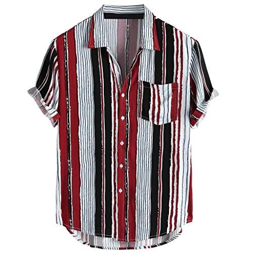 ChallengE Hemd Herren Hemden Business Freizeithemd Männer Oberhemden Herren Bunte Streifen Sommer Kurzarm Lose Knöpfe Freizeithemd Bluse