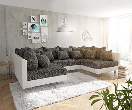 DELIFE Couch Clovis modular - Ecksofa, Sofa, Wohnlandschaft & Modulsofa (Schwarz/Weiss, Sofa)