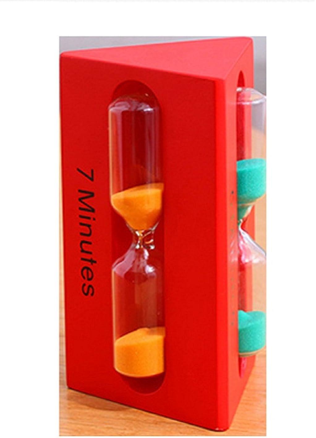 3種類砂時計 オシャレ ユニーク 三角形 砂時計 3分計 5分計 7分計 赤 レッド