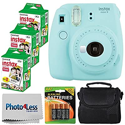 Fujifilm instax Mini 9 Instant Film Camera + Fujifilm Instax Mini Twin Pack Instant Film (60 Exposures) + Compact Camera Case + 4 Pack AA Batteries + Cleaning Cloth – Top Valued Bundle from FUJIFILM