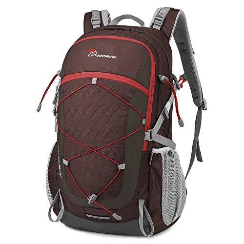 MOUNTAINTOP Mochilas Senderismo 40 litros, Portátil Mochila Trekking Impermeable, Mochilas de Montaña Hombre Mujer para Viajes Acampadas al Aire Libre (Roja)