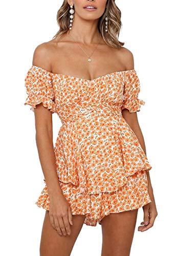 Fixmatti Women Boho Off Shoulder Jumpsuit Floral Print Summer Chiffon Shorts Romper Orange XL