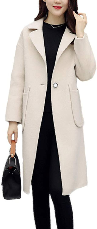 DFUCF Women's Woolen Coat Winter Lapel Long Pea Coat Loose Jacket Fashion Overcoat