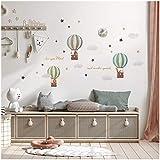 Aufkleber Set Heißluftballon auf 4 Din A4 Bögen Insgesamt 150x55cm Wandtattoo Wandsticker Sticker für Kinder Kinderzimmer Babyzimmer Aquarell Y057-1 (Tiere)