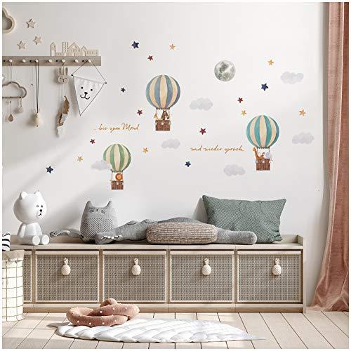 Set di adesivi da parete con palloncino ad aria calda su 4 fogli DIN A4, totale 150 x 55 cm, adesivi da parete, per cameretta bambini, cameretta dei bambini, acquerello Y057-1 (animali)